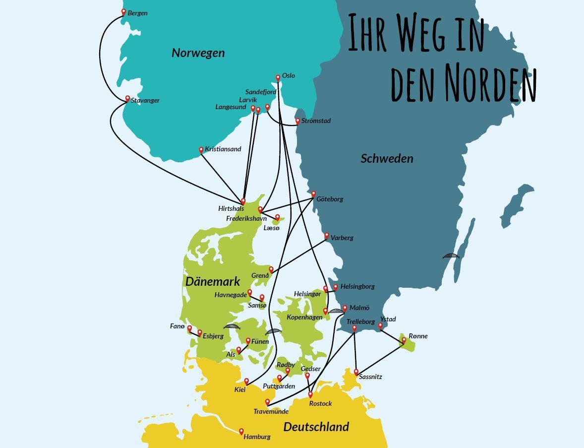 Karte Schweden Dänemark Deutschland.Skandinavien Fähren Dancenter